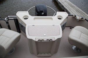 The optional fishing setup at the stern of the Castaway.
