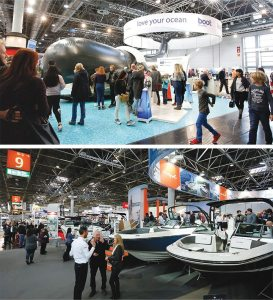 More than 240,000 attendees visited the nine-day show, which included an emphasis on the environment (top) and many U.S. companies, such as Sea Ray (bottom).