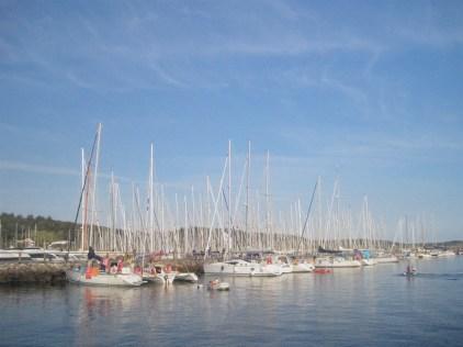Anholt island marina boats masts summer Denmark
