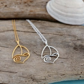 LUV Swell Sailboat Necklace Pendant