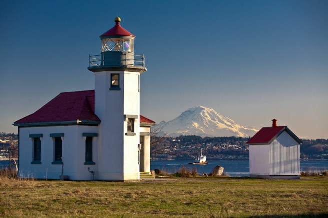 Point Robinson Light House In Puget Sound On Vashon Island