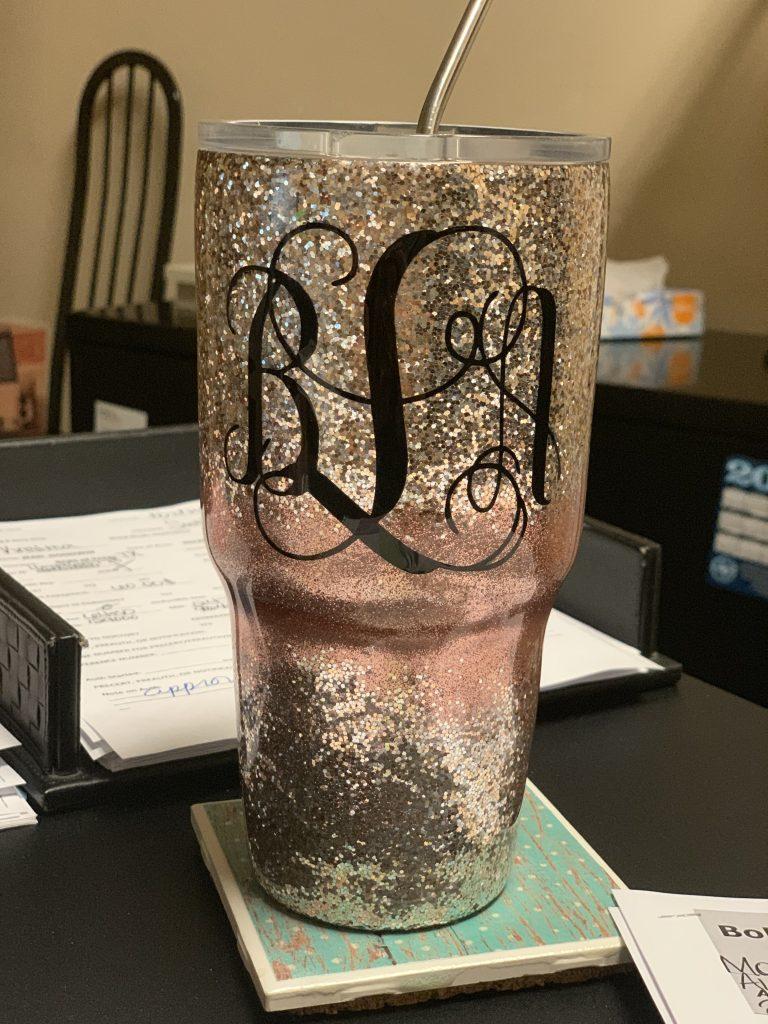 Ombre glitter monogram cup