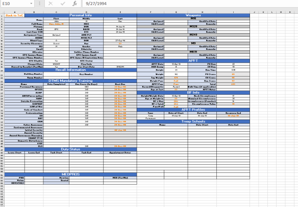 Army Excel Tracker – Bobbie Lee Hubbard