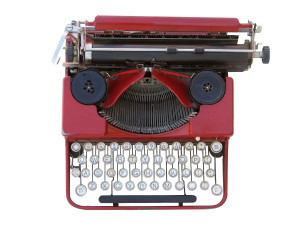 Antique manual typewriter isolated on white