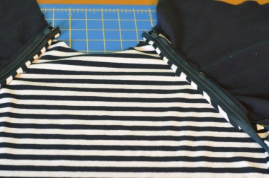 Zipper shown in on a raglan sleeve - inside of shirt