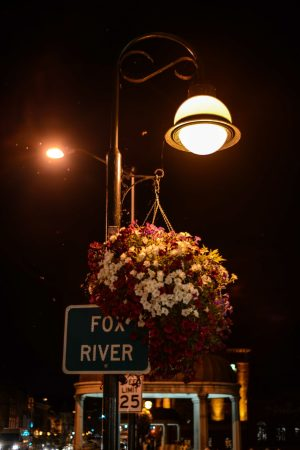 St. Charles - Streetlight and flowers Fox River Sign © Bobbi Rose Photography