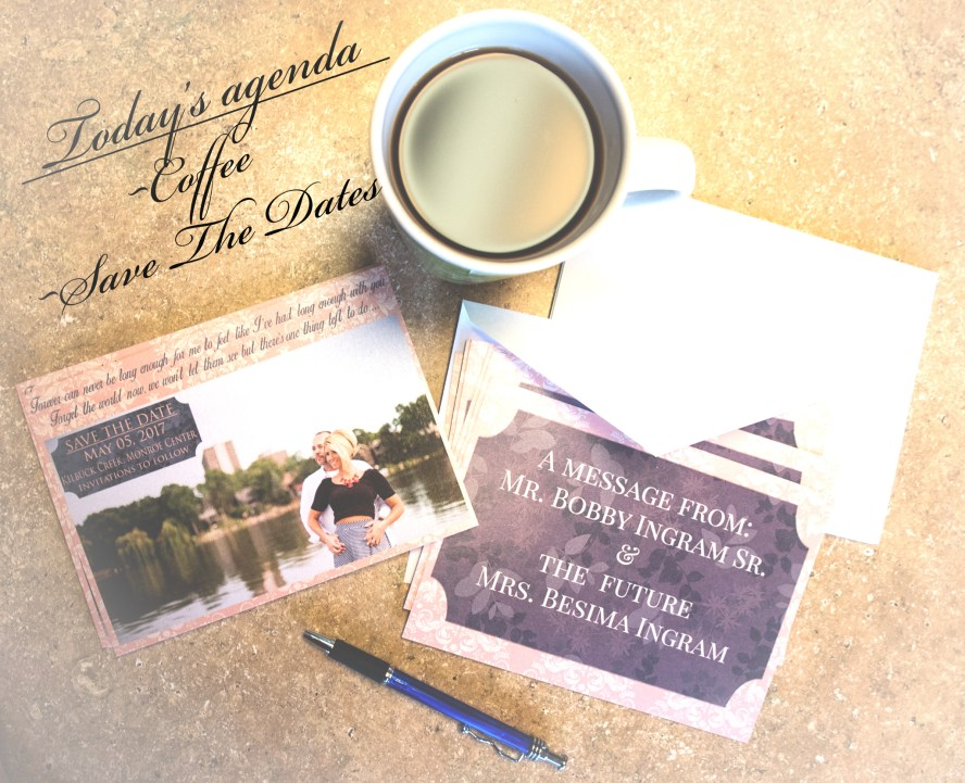 Save the dates, bobbi rose photography, coffee, a message from, pen, blue, blush, wedding, engagement session, graphic design