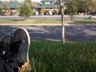 Relaxing, watching traffic, eating Subway