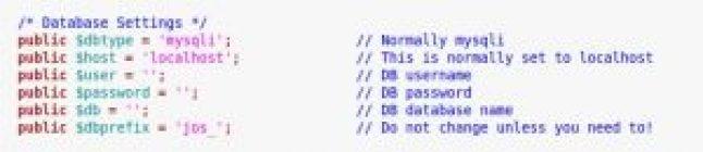 Change joomla admin password - arquivo de configuração