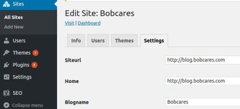Configuração do URL do site do WordPress