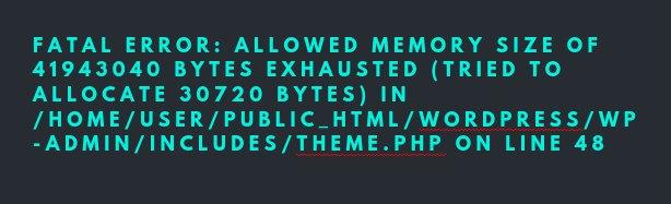 WordPress Tamanho de memória permitido esgotado