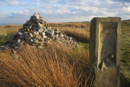 The cairn and memorial stone, Ellen Strange, Rossendale