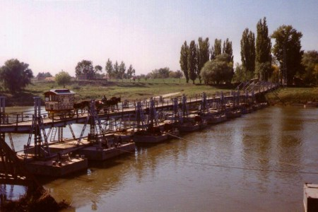 Crossing the Pontoon Bridge, Hungary