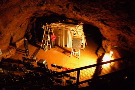The Deep Time Cabaret set in Clearwell Caves, Forest of Dean.
