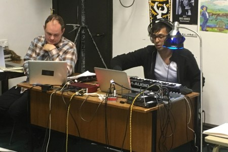 Leon Smith and Arun Ghosh working on the soundtrack