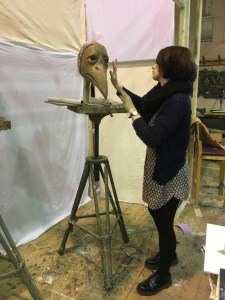 Rose working on a mask for 'The Moonwatcher'. ph. Bob Frith