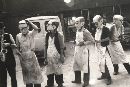 The Woodcarvers preparing for a street parade. Ph. courtesy of Sue Goodwin.