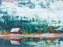 """Lake Mist"": 24"" x 18"" acrylic original - $325"