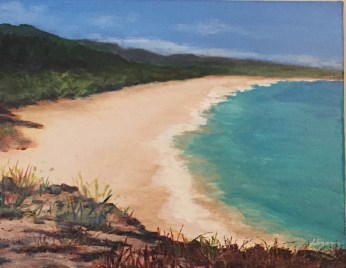 """Big Beach"": 14"" x 11"" acrylic original - $185"