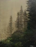 """""""Forest Fog"""": 10"""" x 12"""" acrylic original"""