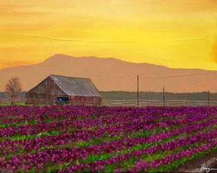 """Valley Sunrise in Bloom"": 20"" x 16"" acrylic original"