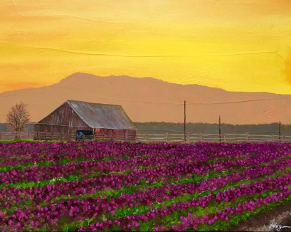 """Valley Sunrise in Bloom"": 20"" x 16"" acrylic original"