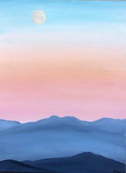 """""""Moon Over Cascades""""; 18"""" x 24"""" acrylic original"""
