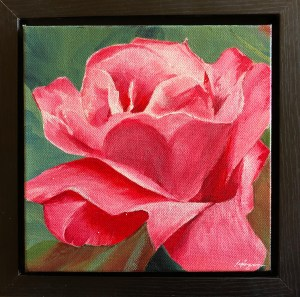 """Grace"": 8"" x 8"" acrylic original (9"" x 9"" with frame)"