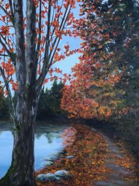 """Lakeside Path in Autumn"": 36″ x 48″ acrylic original"