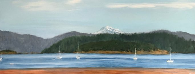 """Anchored in Anacortes"": 16"" x 40"" acrylic original"