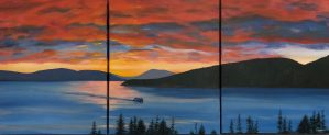 """Red Sky at Night..."": Acrylic original triptych: Each panel 16"" x 20"" - $625"