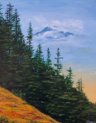 """Under Mt. Baker's Watchful Eye"" - 11"" x 14"" Acrylic Original - $425"