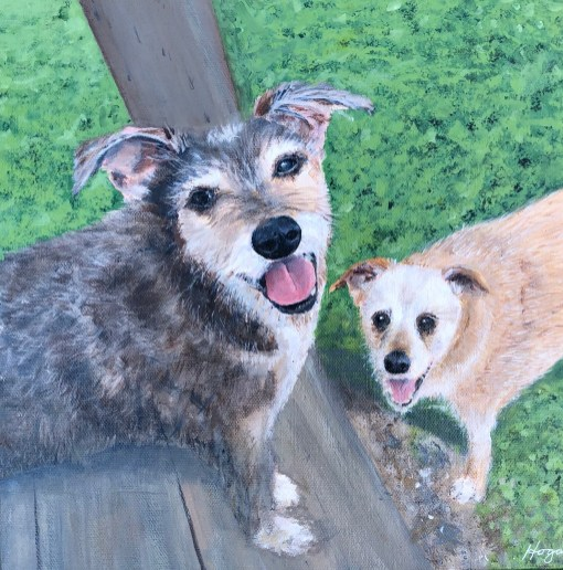 """Arlo and Lucy"": 11"" x 14"" acrylic original commission piece - (SOLD)"