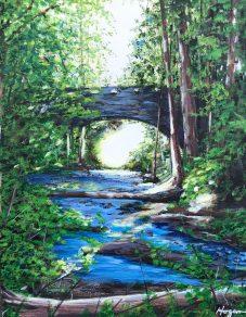 """The Bridge at Bellingham Falls"": 11"" x 14"" acrylic original on canvas - SOLD"