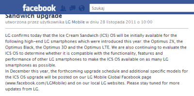 LG potwierdza: będzie ICS dla LG