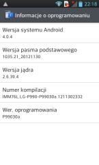 LG 2X P990 Info ourządzeniu