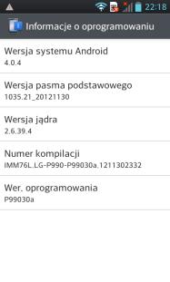 LG 2X P990 Info o urządzeniu