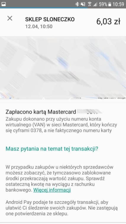 Android Pay - potwierdzenie płatnosci