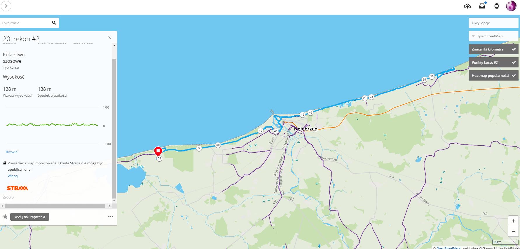 Garmin Connect - zaimportowaa trasa