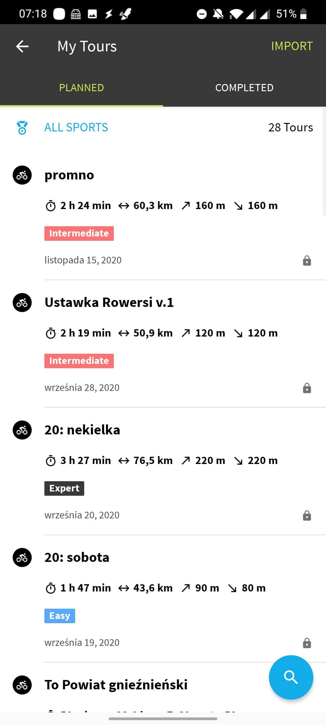 Komoot - lista planowanych aktywnosci