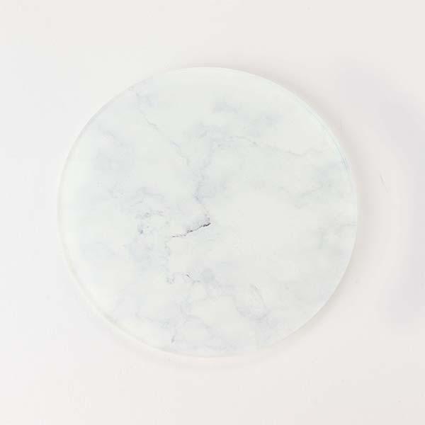 White Marble Round Coaster face on