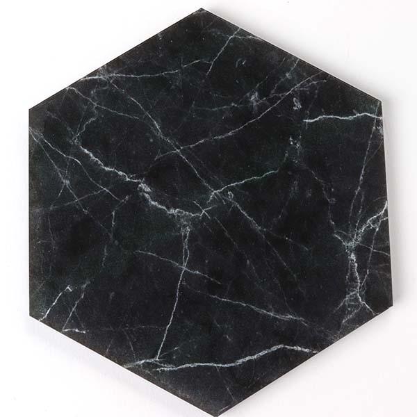 Black Marble Hexagon Coaster