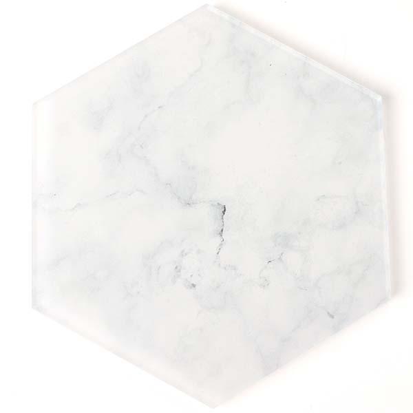 Hexagon White Marble Effect Coaster
