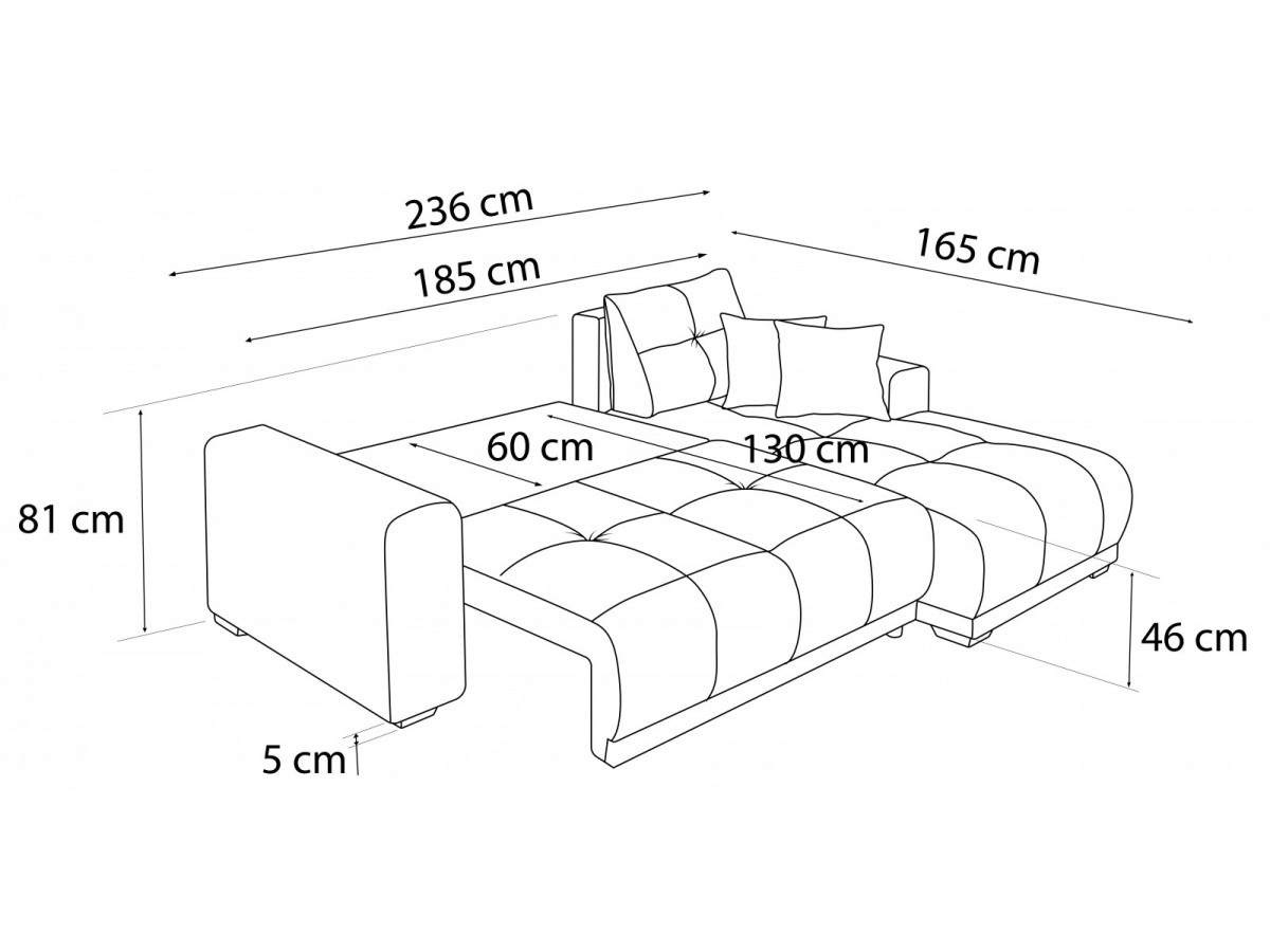 Corner Sofa Convertible With Shelves Lisbona