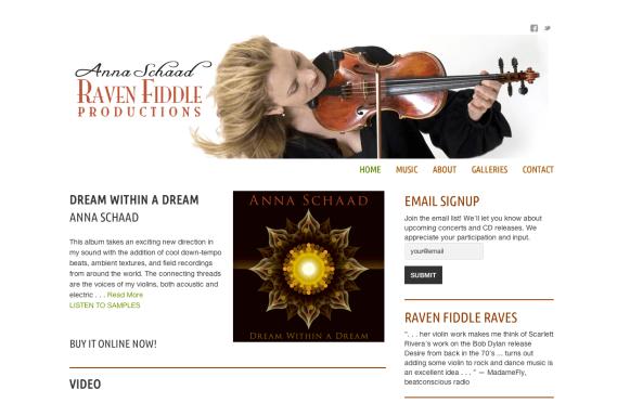 Anna Schaad : Raven Fiddle Productions - Bob Paltrow Web Design Bellingham WA 1
