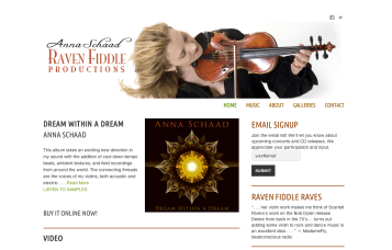 Anna Schaad : Raven Fiddle Productions - Bob Paltrow Web Design Bellingham WA 1