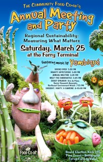 Community Food Co-op Annual Meeting Party - Vegetable Sculpting and Photo Illustration & Design by Bob Paltrow