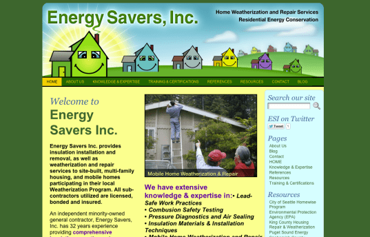 Energy Savers Inc.net - Bob Paltrow Web Design Bellingham WA 1