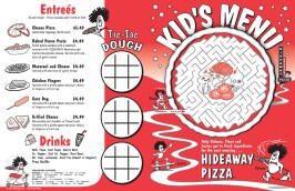 KIDS MENU DESIGN - for Hideaway Pizza by Bob Paltrow Design
