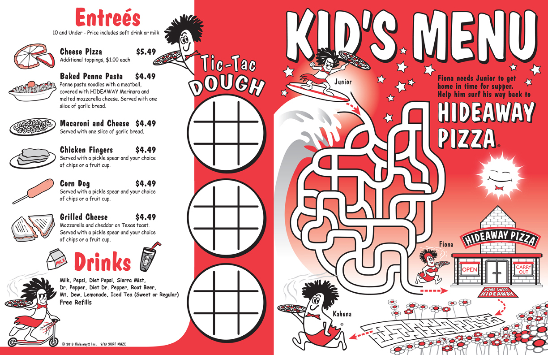 KIDS MENU DESIGN & ILLUSTRATION - Hideaway Pizza, Oklahoma